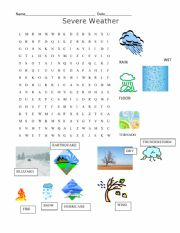 English Worksheet: Severe Weather Word Search