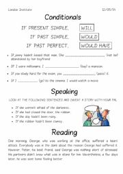 English Worksheet: conditionals + paraphrasing + open cloze