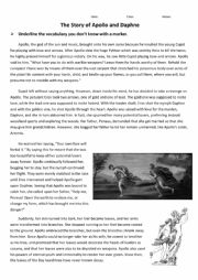 English Worksheet: Greek Mythology -Apollo and Daphne
