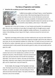 English Worksheet: Greek Mythology - Pygmalion and Galatea