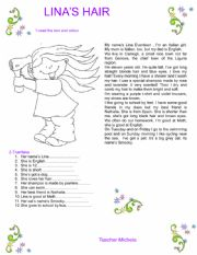 English Worksheet: Lina�s hair