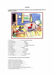 English Worksheet: Exercise in, on, under