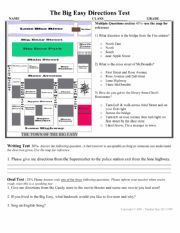 Directions Test with map activity for speaking oral, writing & questions