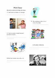 English Worksheet: Wish Clause