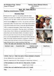 English Worksheet: Full term test n°3
