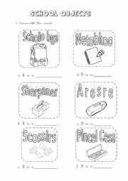 English Worksheet: Unscramble Classroom Objects
