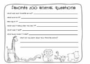 English Worksheet: favorite zoo animal questions