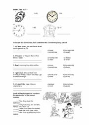 English Worksheet: What time is it? & Frequency Adverbs