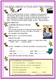 English Worksheet: Cinema : presenting a film, simple guide