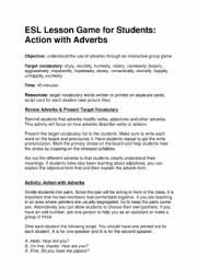 English Worksheet: Lesson Game for Students- Action with Adverbs