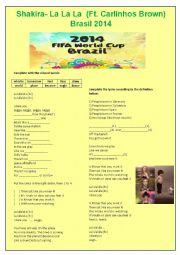 English Worksheet: Shakira - la la la (Ft. Carlinhos Brown) Brazil 2014