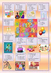 English Worksheet: Birthday quiz