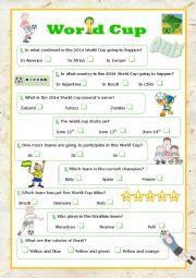 English Worksheet: world cup 2014 quiz
