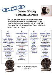 Opinion / Persuasive Writing Sentence Starters- O.R.E.O. Model