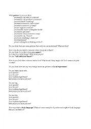 English Worksheet: Body gestures