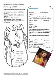 English Worksheet: SONG FOR KIDS