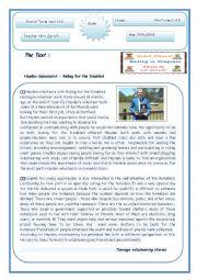 English worksheet: volunteering(End of term 3 test)