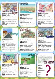 English Worksheet: My Hometown Speaking Cards
