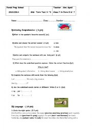 English Worksheet: Mid-Term test N° 3 for 7 th form