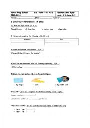 English Worksheet: Mid term test n° 3 for 8 th form pupils