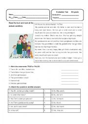 English Worksheet: Written Worksheet
