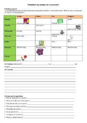 English Worksheet: What does the family do together? Family Schedule
