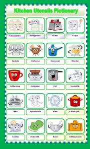 English Worksheet: kitchen utensils pictionary