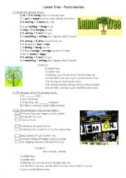 English Worksheet: Song Lemon Tree Worksheet