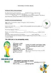 English Worksheet: Fifa world cup 2014 Brazil