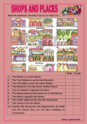 English Worksheet: Shops and Places:3