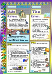 English Worksheet: Articles-a/an and the