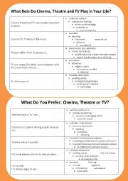 English Worksheet: Cinema, Theatre and  TV