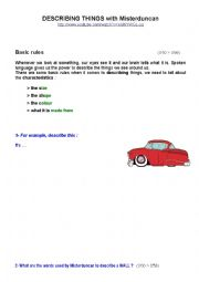 English Worksheet: Describing things 1/2