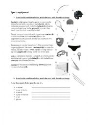 english worksheets sports equipment. Black Bedroom Furniture Sets. Home Design Ideas
