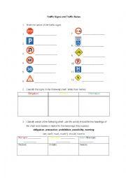 English Worksheet: Traffic signs - Traffic rules - Modals