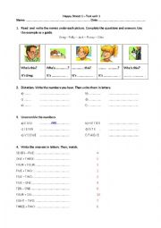 English Worksheet: Happy Street 1 - Test unit 1