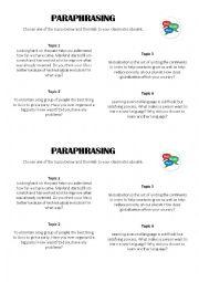 English Worksheet: Paraphrasing information