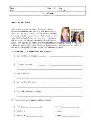 English Worksheet: 6th grade Test_January