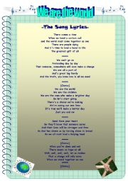 English Worksheet: We Are The World Song Worksheets