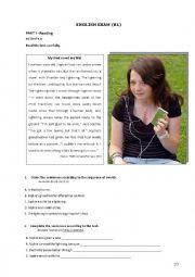 English Worksheet: Exam 9th form (B1)