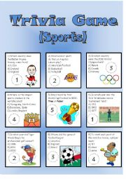 English Worksheet: Trivia Game (Sports)