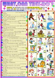 English Worksheet: What can they do? Can in sentences