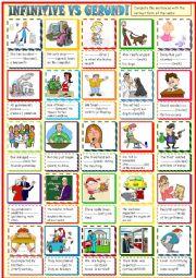 English Worksheet: Infinitive vs gerund:complete the sentences