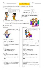 English Worksheet: One or Ones