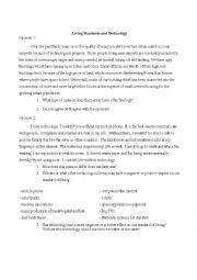 English Worksheet: Standard of Living and Technology