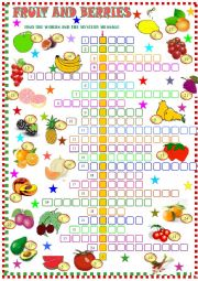 English Worksheet: fruit ; crossword puzzle