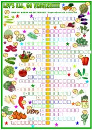 English Worksheet: Vegetables , crossword puzzle