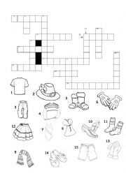 English Worksheet: Crossword about clothes