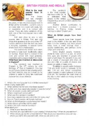 English Worksheet: British food and meals