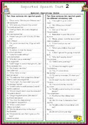 English Worksheet: Special Reporting Verbs Test